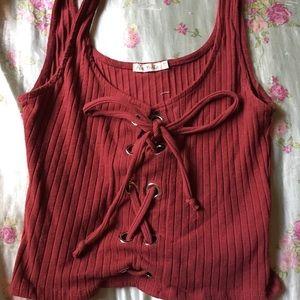 Maroon crop top shirt vest